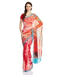 Satya Paul Gorgette Saree With Blouse Piece - B00IMDL8QM