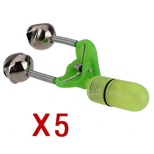 5Pcs Sea Night Fishing Rod Tip Led Light Clip Rod Twin Bells Ring Bite Lure Indicator Alarm