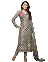 Desi Look Women's Grey Georgette Semi Stitched Suit With Dupatta