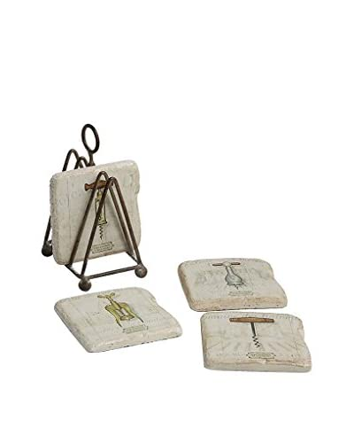 Set of 4 Square Resin Coasters with Metal Stand