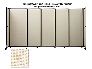 The StraightWall® TELESCOPING Portable Partition, Beige Fabric, 7'6'' high x 11'3'' long