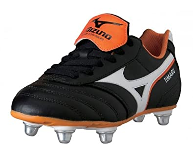 Timaru Kids SG Rugby Boots Black/White/Autumn Glory - size 2