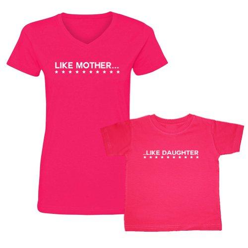 We Match! Like Mother Like Daughter Women'S V-Neck & Toddler T-Shirt Set (2T Toddler, Ladies V-Neck 3Xl, Hot Pink) front-606728