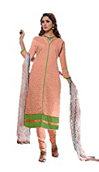 Adaa Women's Cotton Unstitched Dress Material (AM-MK-09_Peach_Free Size)