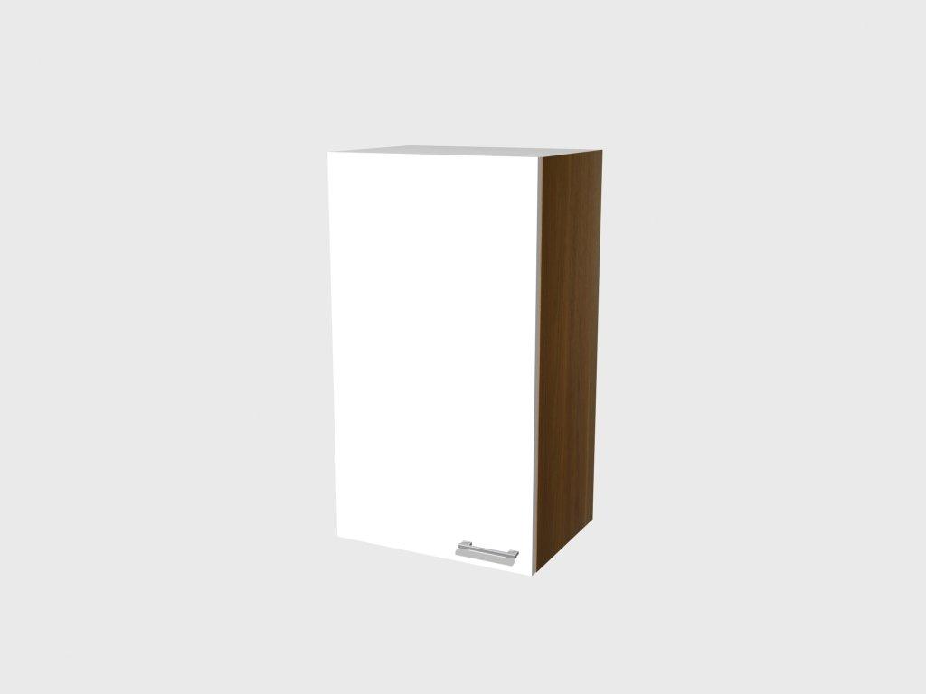 Hoch Hängeschrank Como 50x89 cm glänzend weiss Nussbaum Dekor    Kundenbewertung und Beschreibung