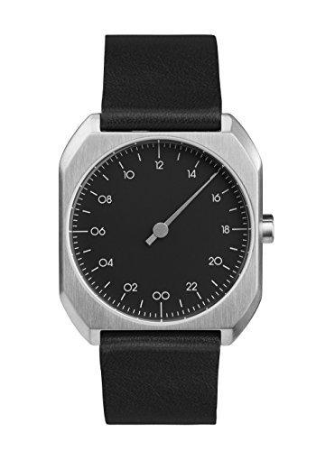slow Mo 06 - Schweizer unisex Einzeigerarmbanduhr analoge 24 Stundenanzeige Leder silber / schwarz