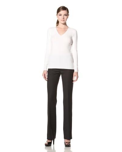 Calvin Klein Collection Women's Lemon Fly, V-Neck Sweater  [Ivory]