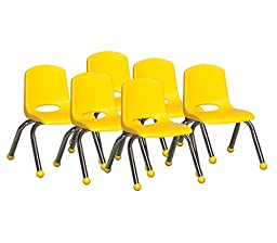 ECR4Kids School Stack Chair with Chrome Legs/ Ball Glides, 10\