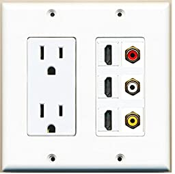 RiteAV - 2 x 15 Amp 125V Power Outlet 3 x HDMI and 3 x RCA Port Wall Plate White