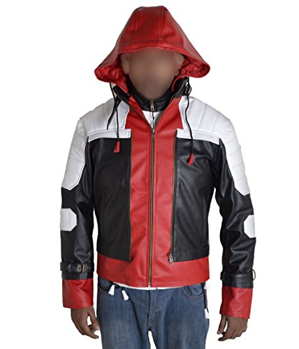 MSHC Batman Arkham Dark Knight with Red Hood Faux Leather Jacket Black White Red