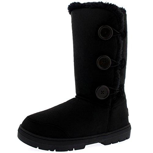 Womens Button Triplet Completamente allineato pelliccia invernale impermeabile Snow Boots - Nero - 8