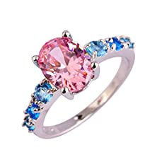 buy Psiroy 925 Sterling Silver Stunning Created Gorgeous Women'S 7Mm*9Mm Oval & Round Cut Pink Charms Filled Ring