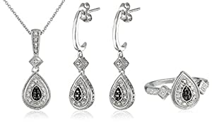 Sterling Silver Black and White Diamond Ring (size 7), Pendant Necklace and Earrings Box Set (1/4 cttw)