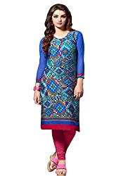 Jcm Krishriyaa Cotton Cambric Blue Printed Kurti With XL Size