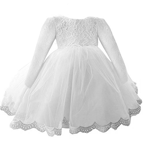NNJXD Girls' Tulle Flower Princess Wedding Long Sleeve Dress For Toddler and Baby Girl Size 3-6 Months Pure White
