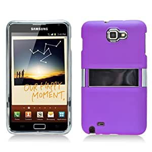 Purple Kickstand Chrome Hard Case Snap On Faceplate Cover for Samsung Galaxy Note i9220