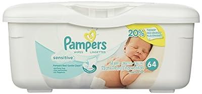 Pampers Baby Wipes Tub, Sensitive - 64 Wipes/Tub