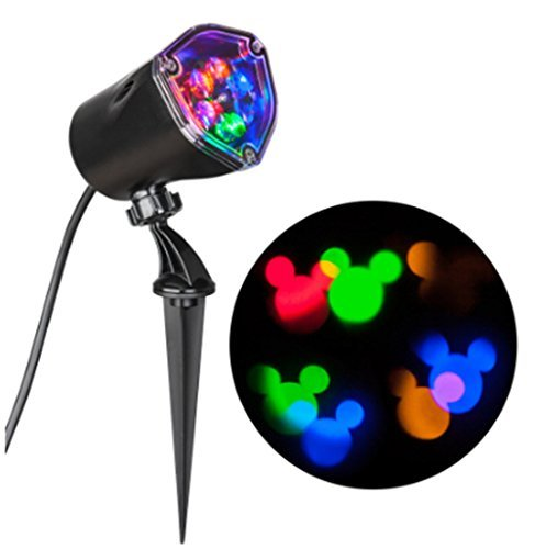 whirl motion Disney Mickey Mouse Ears LightShow Swirling Multicolor LED Christmas Spotlight Projector (Color: Multi)