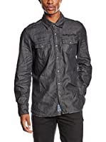 PAUL STRAGAS Camisa Hombre Denim Long Sleeve (Negro)