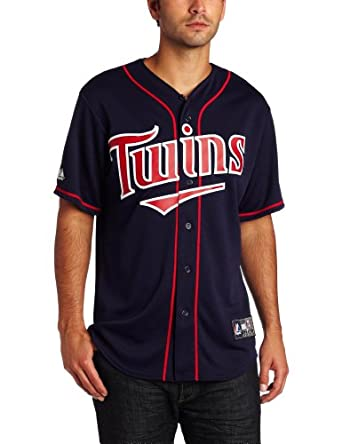 MLB Minnesota Twins Joe Mauer Navy Home Short Sleeve 6 Button Synthetic Replica... by Majestic