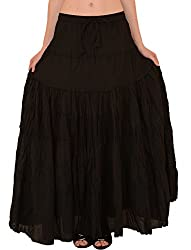 Skirts & Scarves Womens Casual 100% Cotton Long Maxi Skirt (Black)