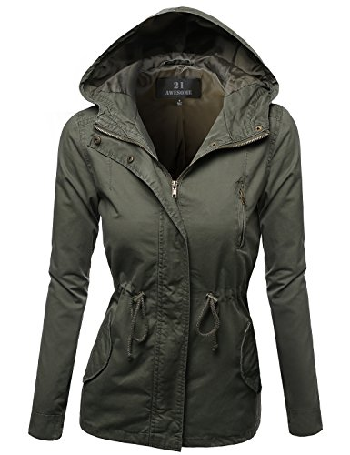 Hooded Drawstring Military Jacket Parka Coat Outerwear Olive Size S