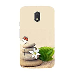 RICKYY _E3_1232 Printed Matte designer leaf and butterfly case for Moto E3