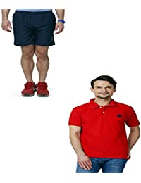 Abloom Men's Shorts & T-shirt Combo ( Navy Blue & Red )