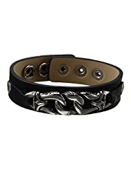 Inox Jewelry Black Leather With Silver Stainless Steel Link Button Clasp Bracelet For Men & Women
