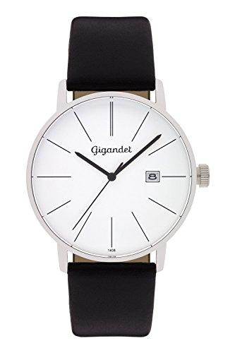 Gigandet Reloj Hombre Cuarzo Minimalism Analógico Correa de Cuero Plata Negro G42-001