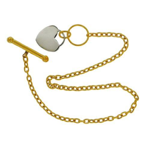 9ct Two Colour Gold Heart Tag T-Bar Bracelet 19cm/7.5