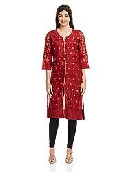 Rangriti Women's Straight Kurta (RMMAABHUSHAN2603A_Maroon_38)