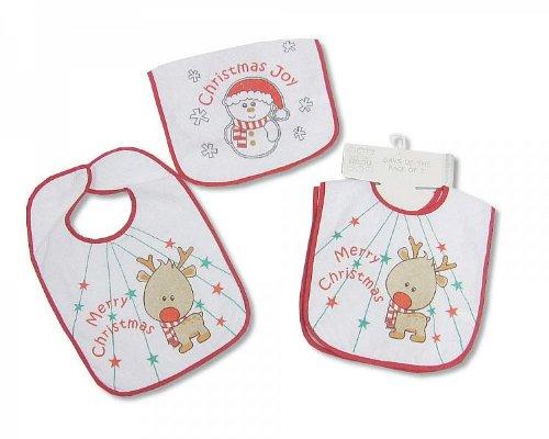 """2x Baby-Lätzchen im Doppelpack """"Elch und Schneemann"""" Weihnachten Nikolaus Geschenk Zwillinge Zwillingskleidung"""