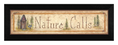 The Craft Room Mary280-276 Nature Calls, Rustic Bath Framed Print by Mary June, 20x5 Inches