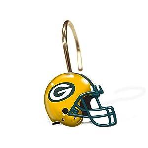 Green Bay Packers Bathroom Shower Curtain Hooks Rings Set Football Bathroom