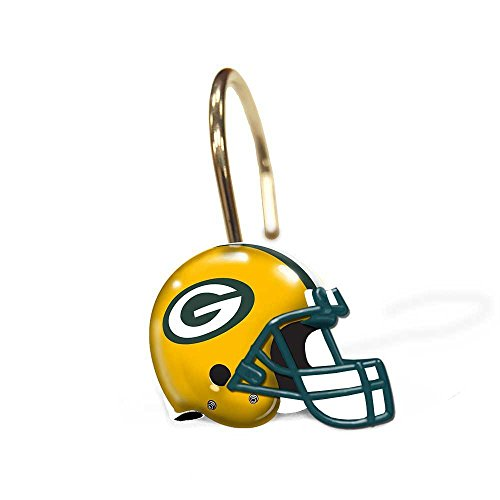 Green Bay Packers Bathroom Shower Curtain Hooks Rings Set