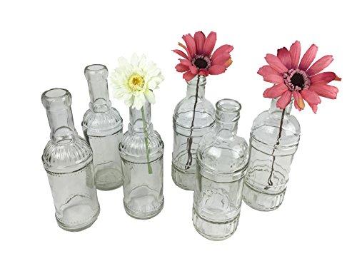 6er set glasflaschen transparent vasen set f r tischdekoration hochzeitsvasen kerzenvase. Black Bedroom Furniture Sets. Home Design Ideas