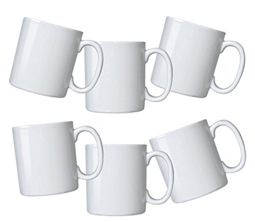 Oxford Biona Mugs (Set of 6), Pure White (White Coffee Mug Set compare prices)