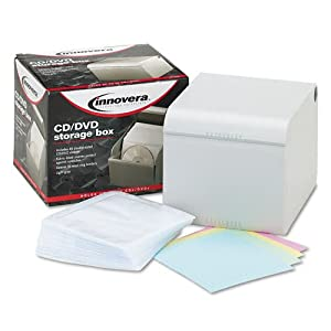Innovera : CD/DVD Storage Box with Hinged Lid Holds 80 Discs, Light Gray -:- Sold as 2 Packs of - 1 - / - Total of 2 Each