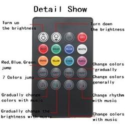 7Color RGB Strip 5050SMD Led Lights Music Control For Car Interior Lighting Remote Control DC12V