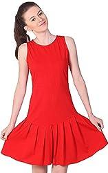 Unimod Women's Peplum Dress (Red, S)
