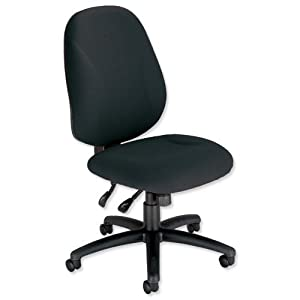 Trexus Intro Maxi Operator Chair Asynchronous High Back H590mm W530xD470xH480 610mm Black       Office ProductsCustomer reviews and more information