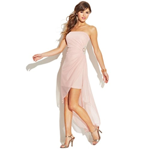Teeze Me Juniors' Strapless Illusion Dress tea pink blush 9