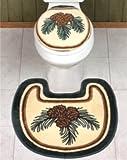 Lodge PINE CONE BATH SET Toilet Seat Cover contour Rug MAT SET