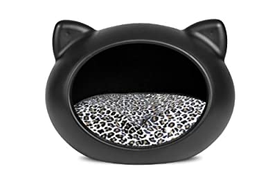 Guisapet - Pet Cave For Cats & Dogs - Small Cat Bed - Black With Animal Print Cushion