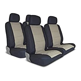UNIVERSAL CAR SEAT COVER FOR MIDSIZE AND COMPACT CARS FULL SET - BEIGE/BLACK