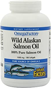 Natural Factors Wild Alaskan Salmon Oil 1000mg Softgels, 180-Count