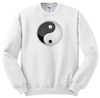 Black and White Yin and Yang Sign - Adult SweatShirt Small