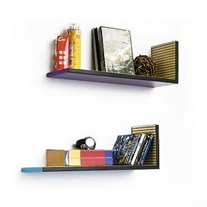 ... Blue] L-Shaped Leather Shelf / Bookshelf / Floating Shelf (Set of 2