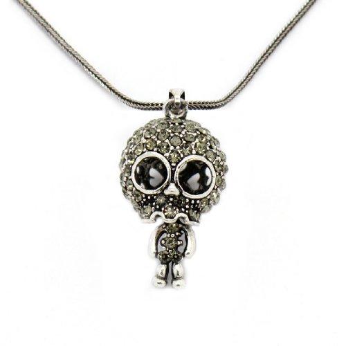 2 PIECE SET: Metal Fox Chain / Necklace With Rhinestone Skeleton Skull Pendant